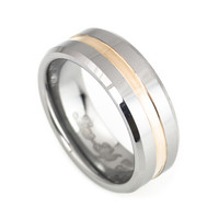 Rose Gold men's tungsten wedding Bands