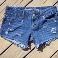 Distressed American Eagle Cut Off Shorts Size 4 by DenimAndStuds