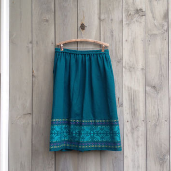 Vintage skirt   Teal wool skirt with colorful embroidery