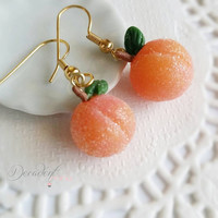 Frosted Peach Earrings- Polymer clay Miniature food jewelry-Scented gift