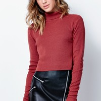 Kendall & Kylie Cropped Turtleneck Pullover Sweater - Womens Sweater