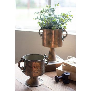 Set Of 2 Antique Copper Finish Planters With Handles