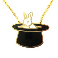 Bunny Rabbit in A Top Hat Shaped Animal Pendant Necklace | Limited Edition
