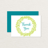 Printable Thank You Card 4 bar / Vines and Wreath / Printable Stationery