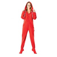 Solid Red Adult Footed Onesuit Pajama