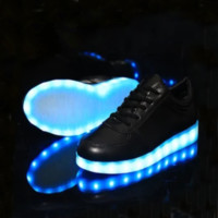 Fashion students colorful led rechargeable luminous shoes