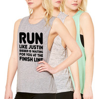 Run Like Justin Bieber Is Waiting For You At The Finish Line Ladies Flowy Scoop Muscle Tee Tank Workout Belieber