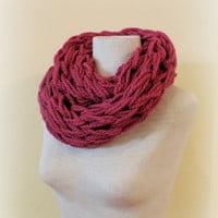 Knitted infinity scarf,maroon red wine chunky knitted scarf, hand knitted scarf, loop scarf, knitted scarves, thick winter scarf