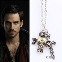 New Once Upon A Time Cross Skull With Sword Captain Hook  Necklace