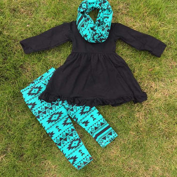 Black and Blue Aztec Girls Outfit with Scarf