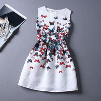 2015 Summer Style Dresses For Girl Butterfly Flower Printed Sleeveless Formal Girl Dresses Teenagers Party Dress Free Shipping