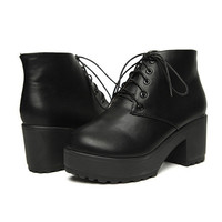 High Platform Block Heel Lace-up Ankle Boots - OASAP.com