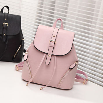 Pink Casual Leather Backpack Daypack Travel Bag