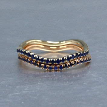 2 wedding ring sets!Unique Curved Design,Natural Blue Sapphire Wedding Band,14K Yellow and rose gold,Anniversary Ring,Full Eternity Band