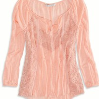 AEO Women's Mixed Lace Boho T-shirt