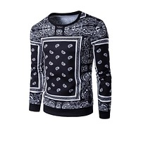 Casual Round Neck Retro Paisley Printed Men Sweatshirt