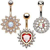 3PC Belly Button Rings 14G CZ Crystal Heart Flower Stainless Steel Navel Piercing