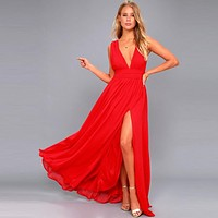Fashion Vestidos 2019 Summer Women Sexy V Neck Sleeveless Beach Dresses Ladies Casual Loose Long Maxi Party Dress Plus Size