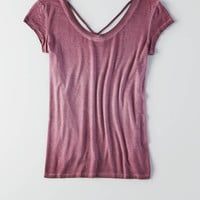 AEO Soft & Sexy Strappy Front T-Shirt , Burgundy