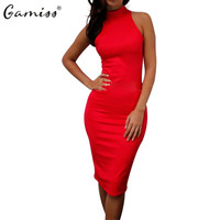 Gamiss Summer Women Dress New Brief Style Work Office Dress Turtleneck Sexy Bodycon Knee Length Casual Party Dresses