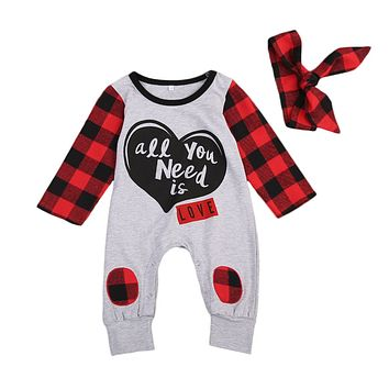 Baby Girl All You Need is Love Buffalo Plaid Gray Romper