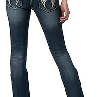Miss Me Women's Medium Wash Phoenix Leather Wing Boot Cut Jean