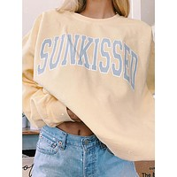 2020 new women's round neck letter printing casual long-sleeved T-shirt