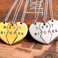 """New Style Friendship Jewelry Fashion Gold/Sliver Broken Heart Parts 3 """" Best Bitches"""" Necklaces & Pendants For Best Friend"""