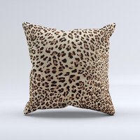 Brown Vector Leopard Print ink-Fuzed Decorative Throw Pillow