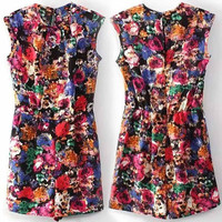 Floral Print Sleeveless Back Button Closure Romper