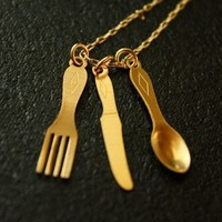 Long Spoon Fork and Knife Necklace on a 14kt Gold by FreshyFig