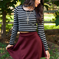 Mirin Long Sleeve Stripe Crop Sweater