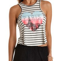 Ivory Combo Paris Graphic Striped Tank Top by Charlotte Russe