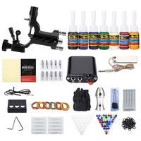 Solong Complete Tattoo Kit 1 Rotary Equipment Machine Gun 7 Color Inks Set Power Supply Disposable Needles Tattoo US PLug