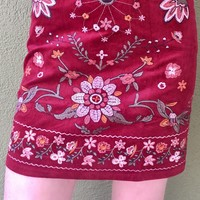 Next To You Embroidered Skirt - Garnet