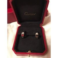 Cartier Love White Gold Diamond Hoop Clip Earrings