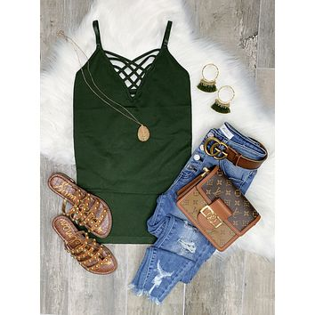 Long Caged Cami - Olive