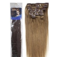"""18"""" Clip in Human Hair Extensions, 10pcs, 100g, Color #6 (Chestnut Brown)"""