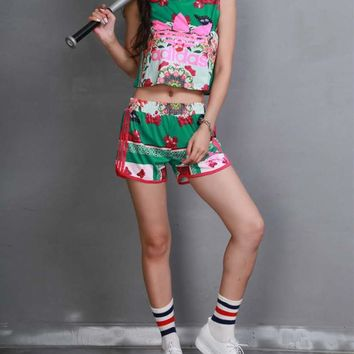 """""""Adidas"""" Women Casual Multicolor Floral Butterfly Print Sleeveless Vest Shorts Set Two-Piece Sportswear"""