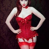 Red satin cupped longline corset with by MorganaFemmeCouture