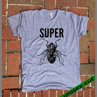 SUPER fly. You know who you are. Grey Heather tri blend super soft t- shirt. hand print t shirt.screen print. Unisex. Mens Womens Clothing