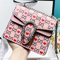Hipgirls GUCCI New fashion more letter star love heart print leather shopping leisure chain shoulder bag crossbody bag Pink
