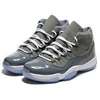Air Jordan 11 New fashion hook high top men sports leisure shoes Gray