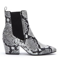Matisse Morgan Black and White Snakeskin Ankle Boots