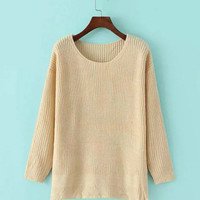 Long Sleeves Knitted Sweater With Side Splits