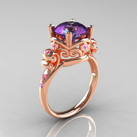 Modern Vintage 14K Rose Gold 2.5 Carat Alexandrite and Light Pink Sapphire Wedding, Engagement Ring R167-14KRGLPSAL