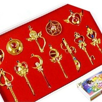 Gooband® Sailor Moon Pretty Guardian 12PCS Cosplay Make Up Stick Keychain Necklace Toy Gold Set