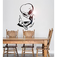 Vinyl Wall Decal Drinking Alien UFO Space Fantasy Drinking Wall Stickers Unique Gift (ig1778)