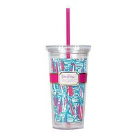 Tumbler with Straw in Red Right Return by Lilly Pulitzer