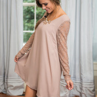Easily Elegant Dress, Taupe
